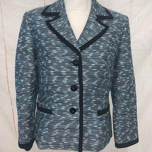Kasper teal metallic suit jacket blazer size 12